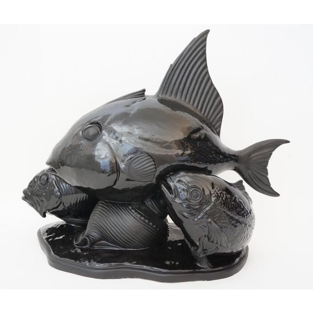 Art Deco 1930s Lejan Style Sculpture School of Fish in Black Ceramic For Sale In West Palm - Image 6 of 12
