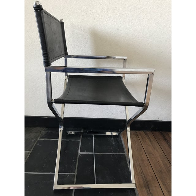 Vintage Mid-Century Modern Black Vinyl & Chrome Director Chair - Image 5 of 8