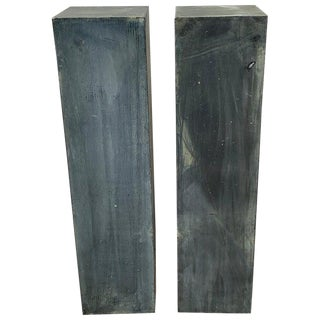 Pair of Industrial Verdigris Lead Columns For Sale