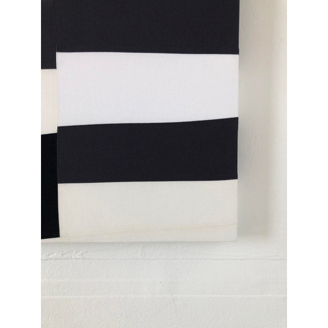 Abstract Minimalist Black and White Textile Painting For Sale - Image 6 of 12