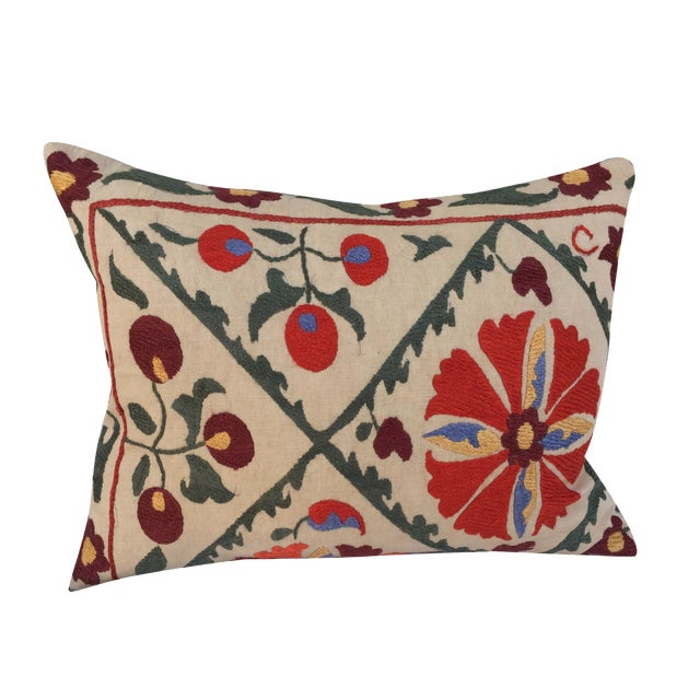 Antique Embroidered Turkish Suzani Pillow - Image 1 of 7