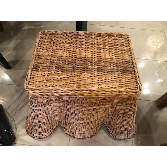 Boho Chic Vintage Palm Beach Tropical Trompe l'Oeil Wicker Draped Coffee Table For Sale - Image 3 of 13