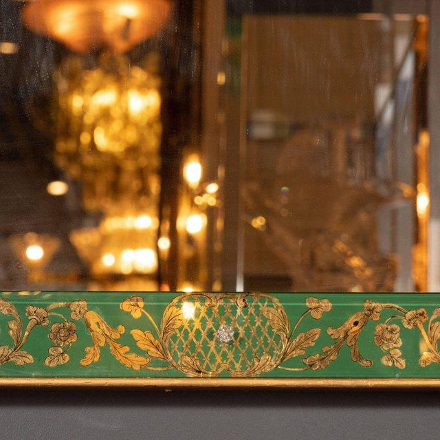 1950s Mid-Century Modern Emerald Reverse Églomisé Mirror With Gilt Detailing For Sale - Image 5 of 10