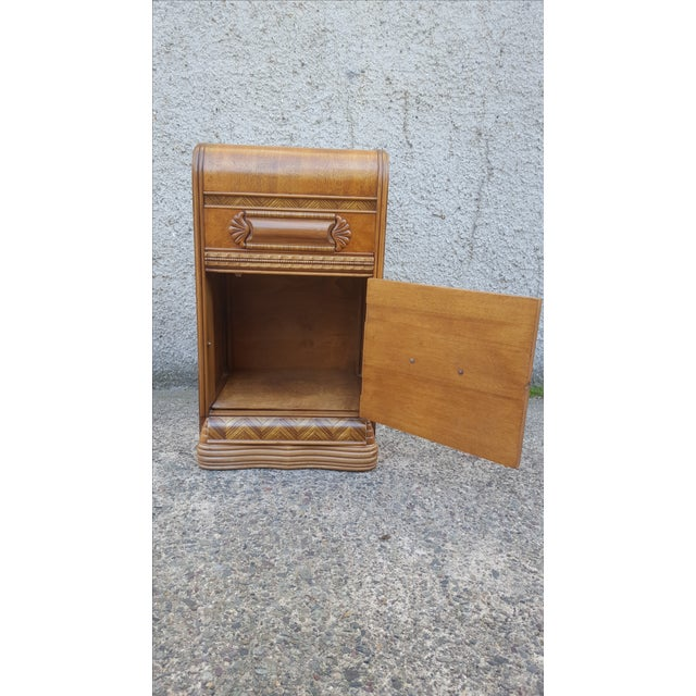 Vintage Restored Art Deco Waterfall Nightstand For Sale In Providence - Image 6 of 7