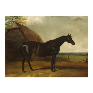 """Landscape Painting of Black Stallion """"Lottery"""" Attr. To Charles Hancock For Sale"""