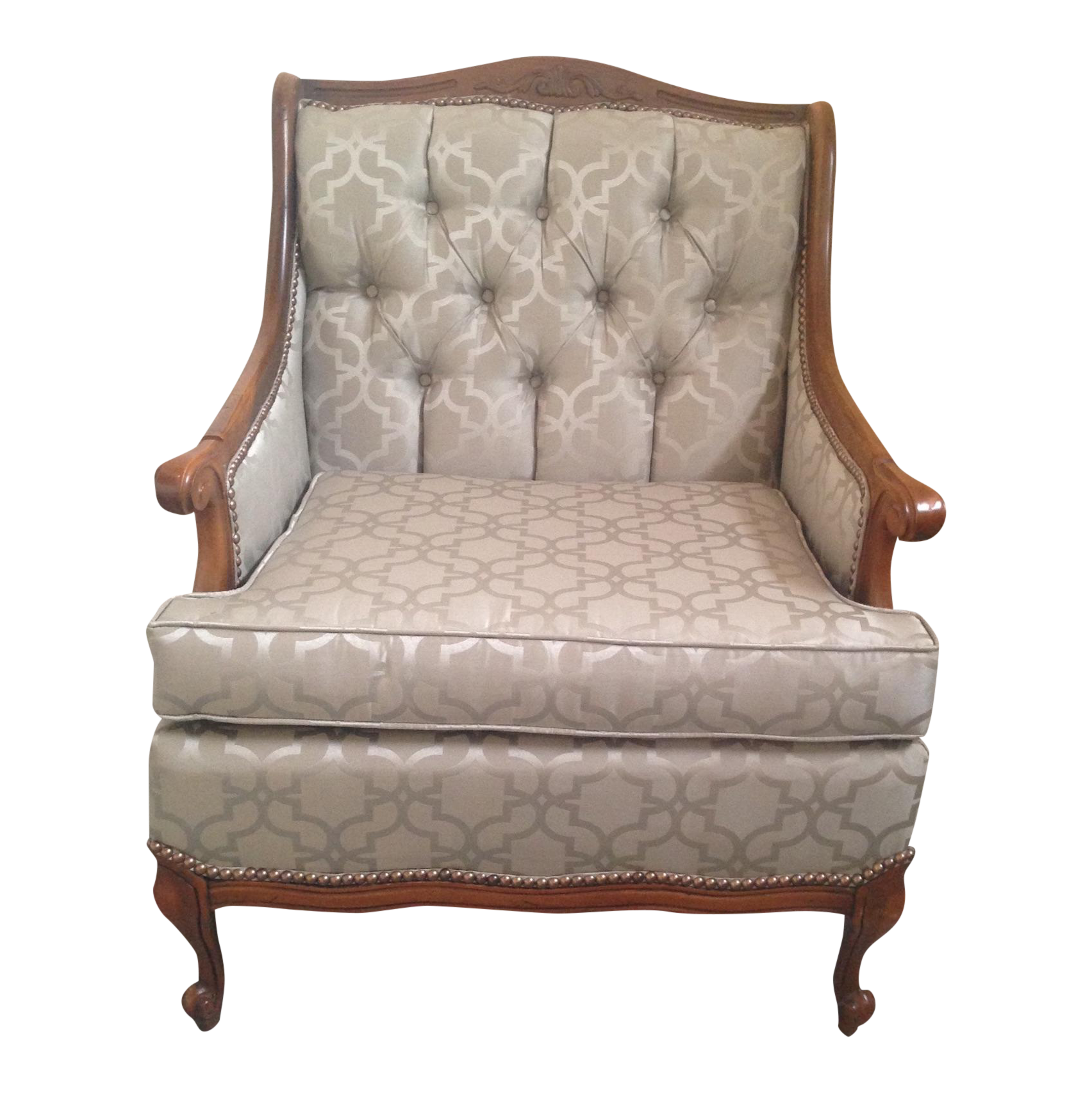 Superb Antique Reupholstered Queen Anne Accent Chair