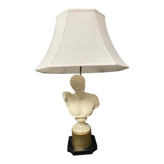 Vintage Neoclassical Bust Lamp With Shade For Sale