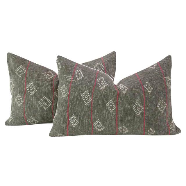 Dark Gray Bengal Kantha Lumbar Pillows - a Pair - Image 1 of 7