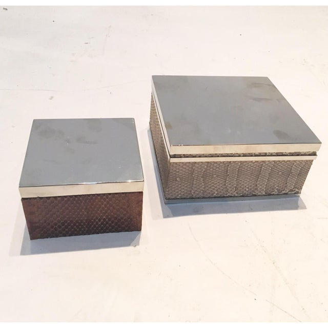 Brown & Tan Snakeskin & Chrome Boxes - A Pair - Image 3 of 6