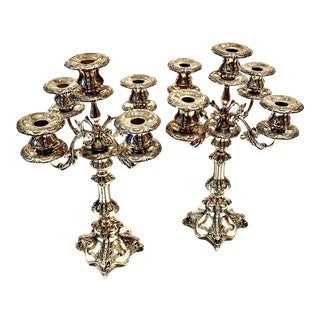 Victorian 5 Branch Silver Plated Candelabras - a Pair For Sale