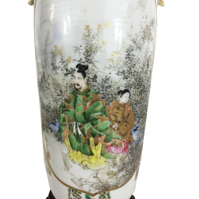 1900s Fine Antique Japanese Porcelain Vase Mounted as a Lamp For Sale - Image 5 of 6