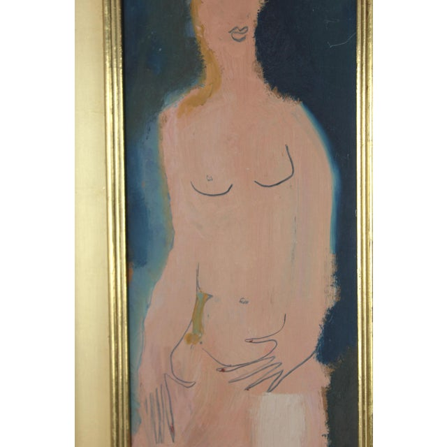 Mid Century Abstract Figure Oil Painting by Sterling Boyd Strauser 1907-1995. Painted on board and framed in 22-karat gold...