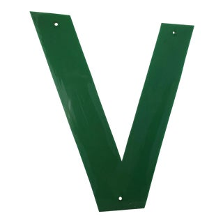 "1970s Emerald Green Marquee Letter ""V"" For Sale"