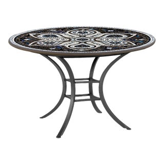 """Grigio 42"""" Bistro Table with Black Base For Sale"""