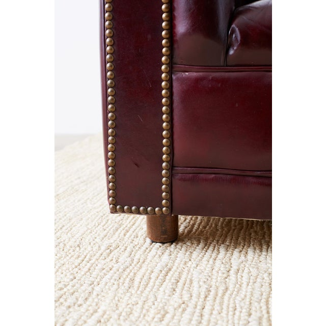 English Cordovan Tufted Leather Chesterfield Sofa For Sale - Image 11 of 13