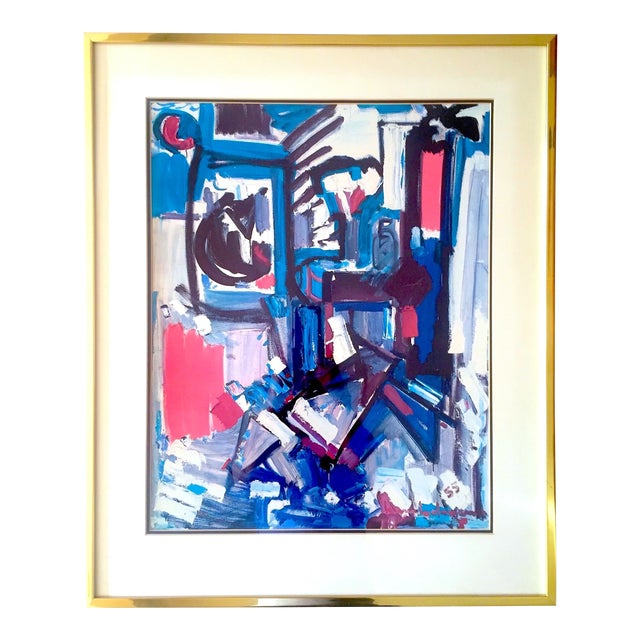 "Hans Hofmann Vintage 1968 Mid Century Modern Abstract Expressionist Framed Collector's Lithograph Print "" Exuberance "" 1955 For Sale"