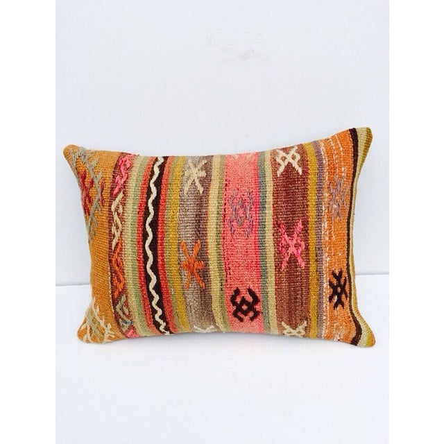 Turkish Orange & Tan Striped Kilim Pillow - Image 2 of 7