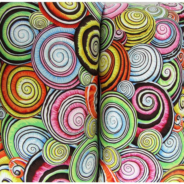 Contemporary Abstract Print Lumbar Pillows - A Pair For Sale - Image 3 of 5