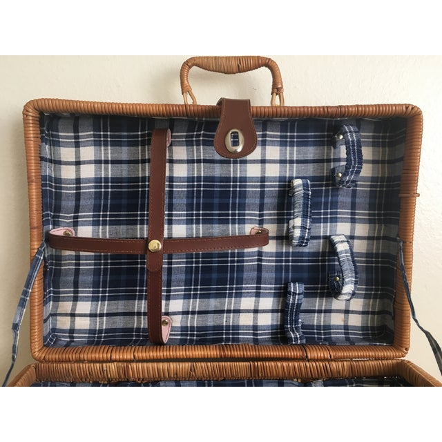 Blue Plaid-Lined Rattan Picnic Basket - Vintage - Image 8 of 11