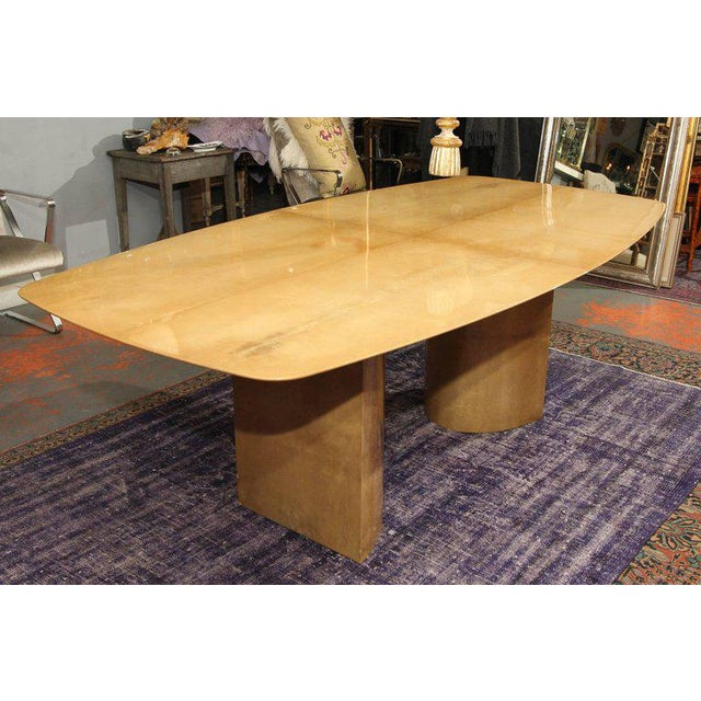 Aldo Tura Lacquered Goatskin Dining Table With Knife-edge Top - Image 3 of 11