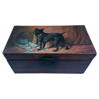 Antique Wood Letter Box with Painted Pug For Sale