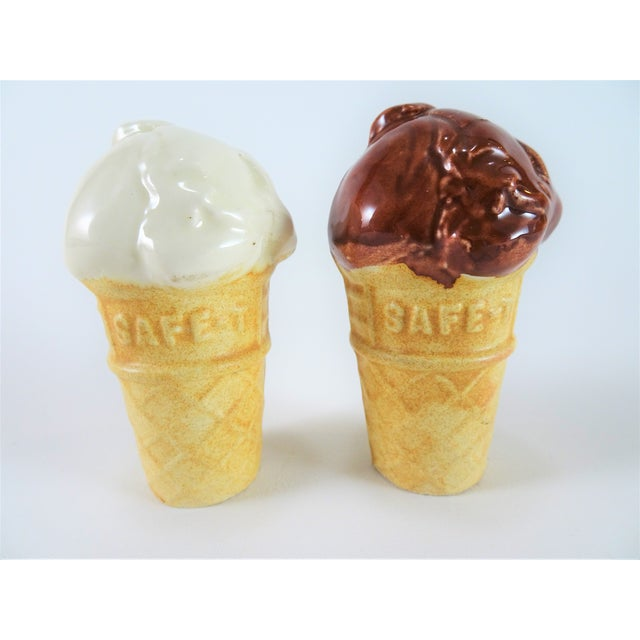 Vintage ceramic ice cream cone shaped salt and pepper shaker. You can't go wrong with vanilla and chocolate flavor.