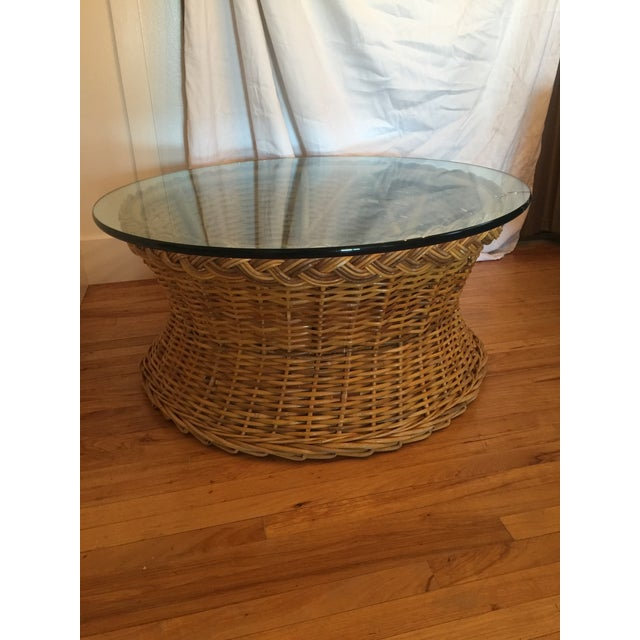 1970s Boho Chic Round Wicker Coffee Table For Sale - Image 10 of 11