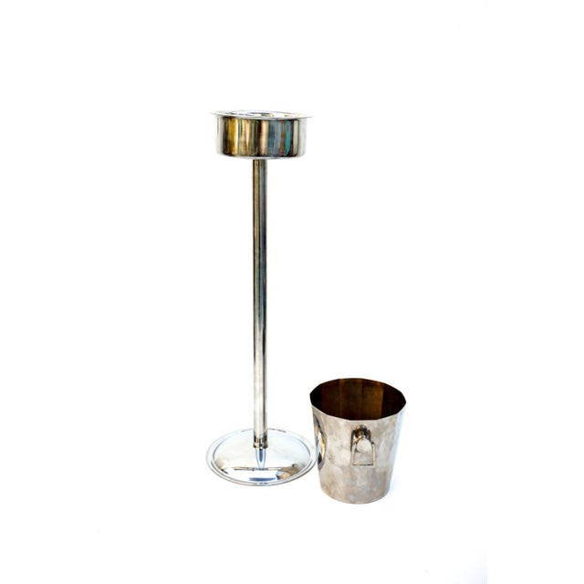 Art Deco Silver Geometric Champagne Chiller & Stand - Image 4 of 10