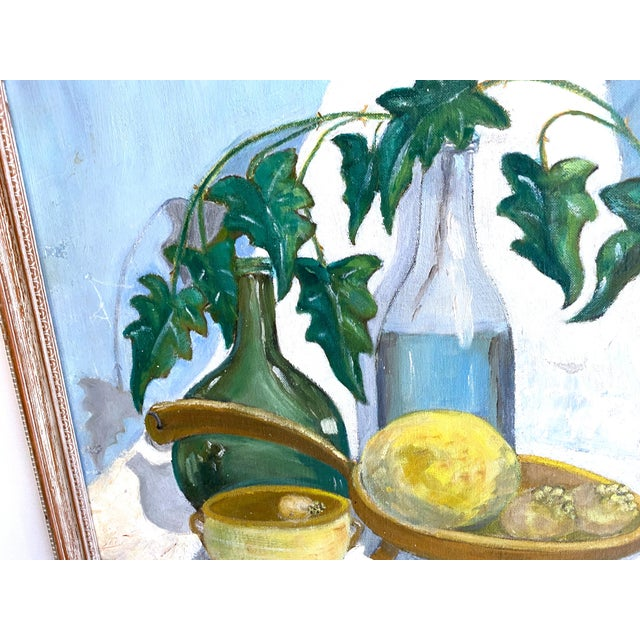 This is one of my favorites! Oil on canvas of basil and kitchen items signed and dated H.L. Levin 1967. This bright and...
