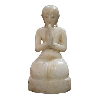 Alabaster Seated Disciple Sculpture For Sale