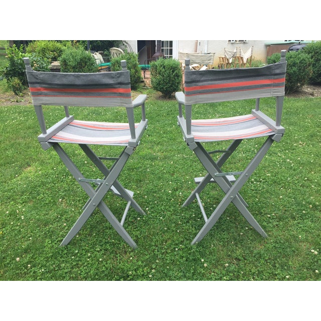 Gray and Orange Striped Director's Chairs - A Pair - Image 6 of 10