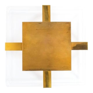 Brass and Lucite Flush Mount Lamp Attributed Maison Arlus, France, 1960