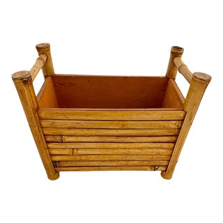 Vintage Bamboo Rectangular Shaped Planter For Sale