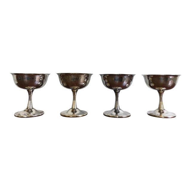 20th Century Art Deco Sheridan Silverplate Goblets - Set of 4 For Sale