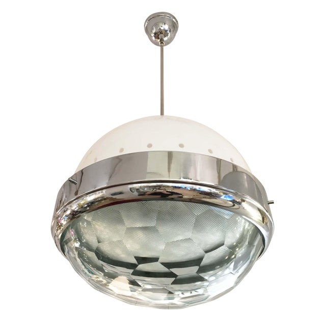 Large Faceted Lens Pendant Attributed to Lumi, Italy, 1960s For Sale In New York - Image 6 of 6