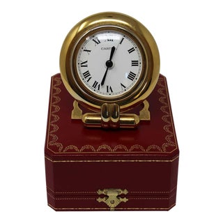 Cartier Art Deco Travel Quartz 24-Karat Gold-Plated Desk Clock For Sale