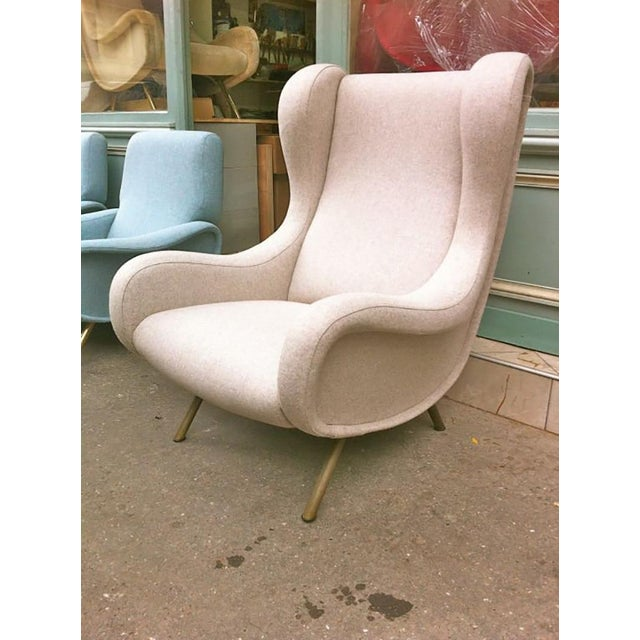 Zanuso vintage superb model Senior newly re-upholstered in beige chine mannish 100% wool material.