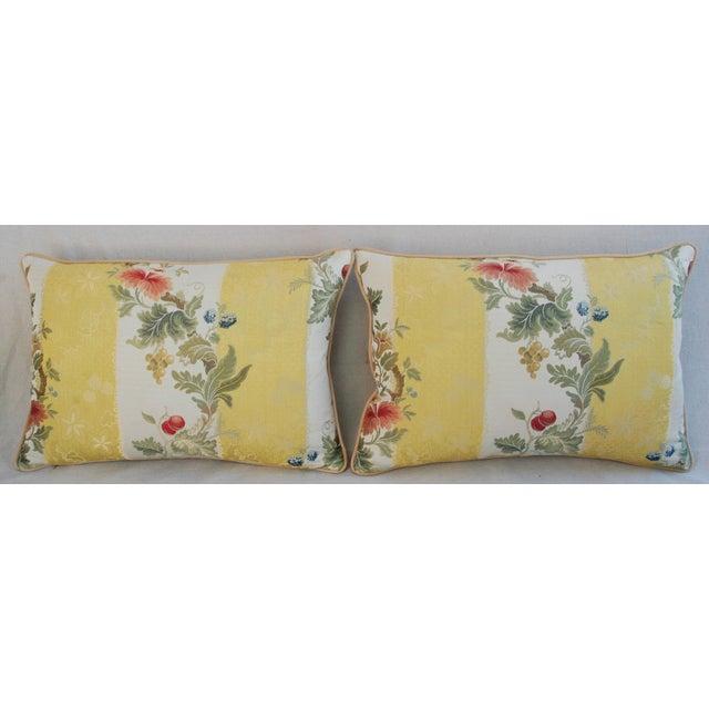 "26"" X 18"" Designer Scalamandre Silk Lampas Feather/Down Pillows - Pair - Image 3 of 10"
