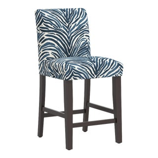 Counter Stool in Washed Zebra Blue For Sale
