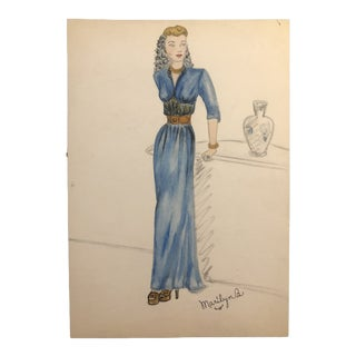Portrait of a Lady in a Blue Dress, 1945 For Sale
