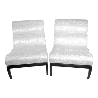 White Silk Shantung Slipper Chairs - A Pair For Sale