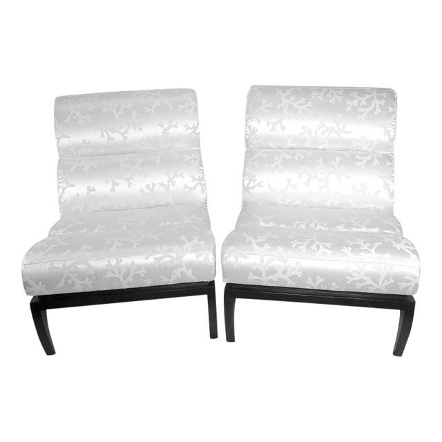 White Silk Shantung Slipper Chairs - A Pair For Sale
