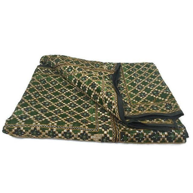 Vintage India Banjara Embroidered Mirrored Throw Blanket For Sale - Image 11 of 11