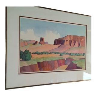 Desert Mesa Landscape Watercolor Painting