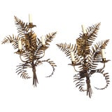 Image of Pair of Gilded Metal Sconces, Italy, Mid-20th Century For Sale