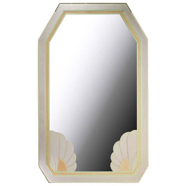 1980s Art Deco Revival Lavender and Rose Etched Glass Mirror For Sale - Image 5 of 5