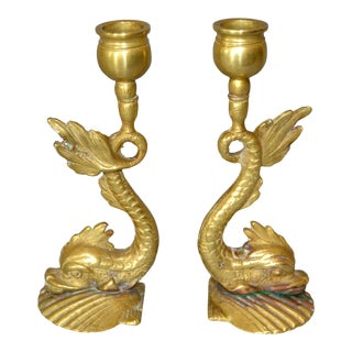 Neoclassical Bronze Sea Serpent or Koi Fish Candle Holders - Pair For Sale