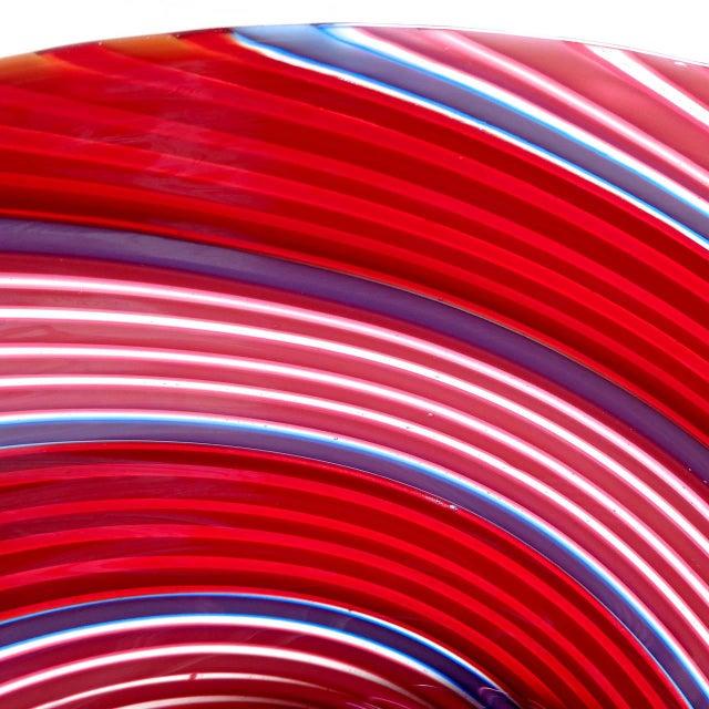 Boho Chic Dino Martens Aureliano Toso Murano Red, Pink, Blue Italian Art Glass Dish For Sale - Image 3 of 5