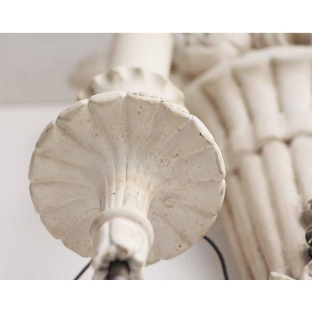 White Wood Sconces With Cornucopia Motif - A Pair For Sale - Image 4 of 11
