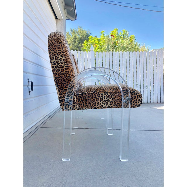 Charles Hollis Jones for Pace Leopard Print Waterfall Chairs - a Pair For Sale In Los Angeles - Image 6 of 7